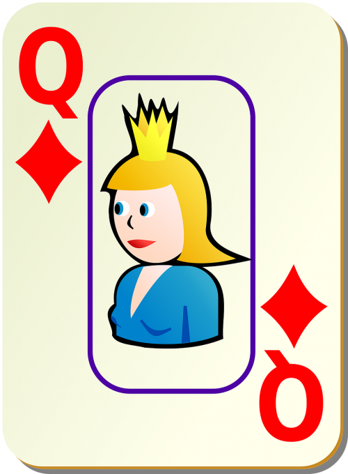 diamonds playing cards queen