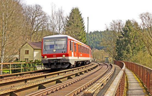 diesel railcar regional train eifel track