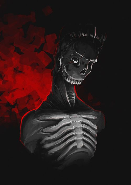 dark red skeleton digital