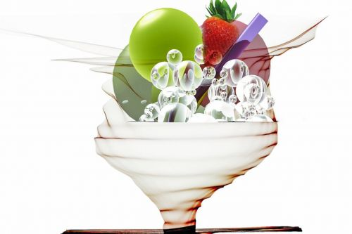 digital art ice cream sundae fruity