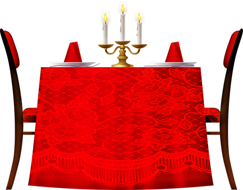dining room table  red tablecloth  candles