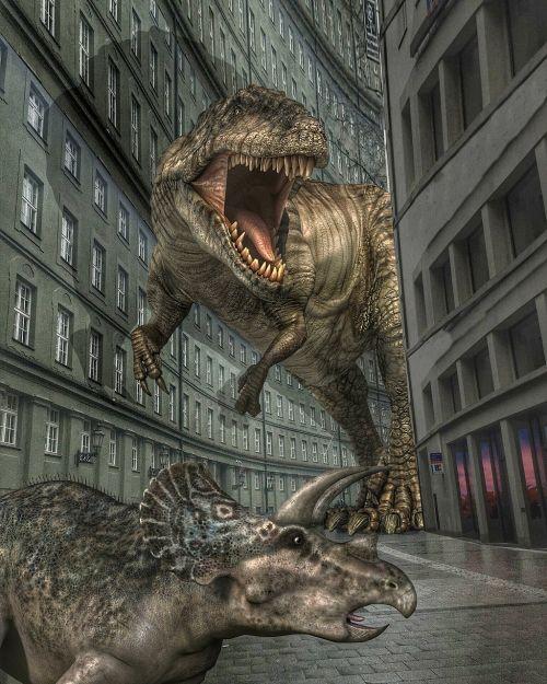 dinosaurs city terror
