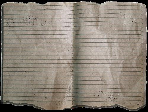 dirty notebook eaten on