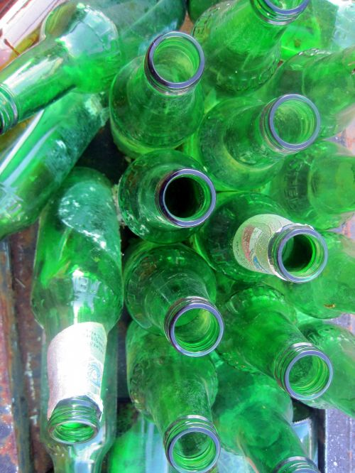 Discarded Green Bottles