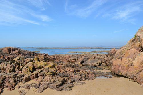 distant scene rocky shore line jersey
