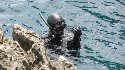 diver diving sea