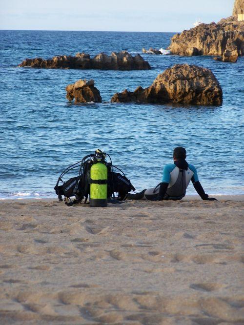 divers sea beach