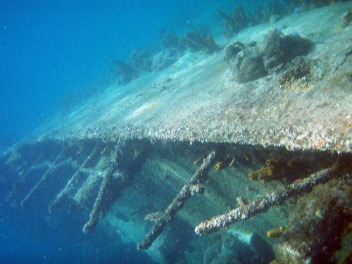diving underwater wreck