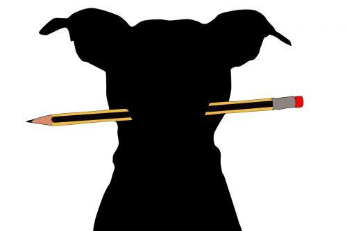 dog writer pencil