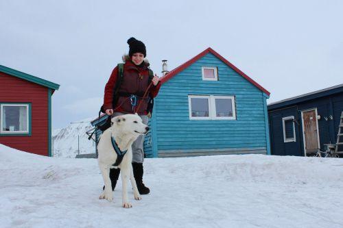 dog girl winter