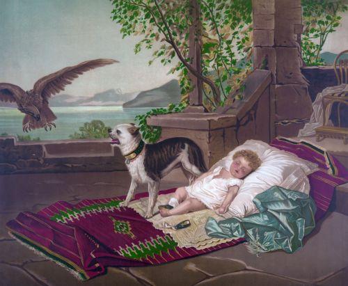 Dog & Child Painting