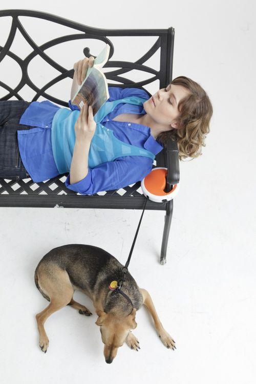 dog leash dog woman