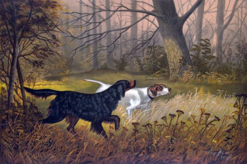 Dogs Hunting Autumn Painting