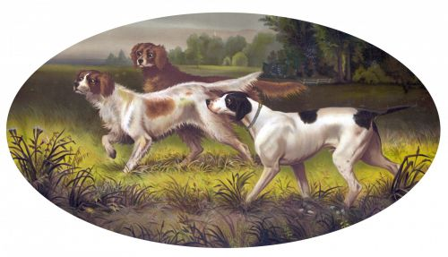 Dogs Hunting Beautiful Painting