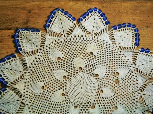 Doily With Blue Glass Beads