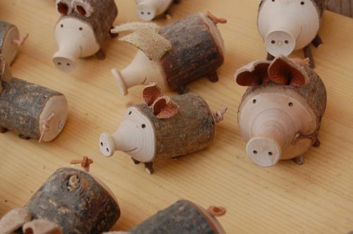 doll pig wood doll