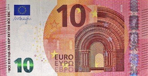 dollar bill  10 euro  currency