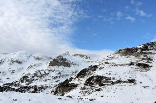 dolomites mountains snow
