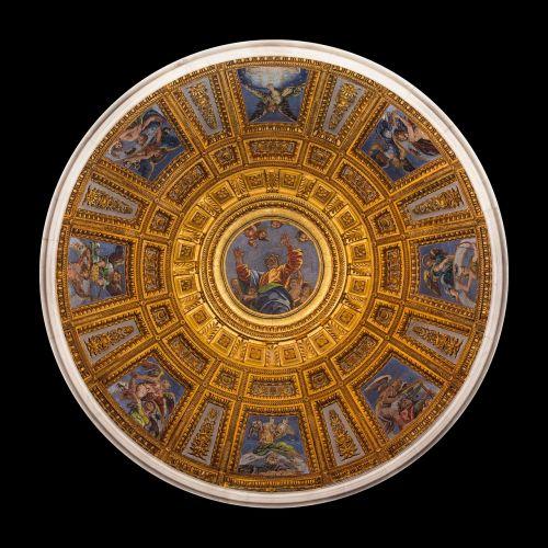 kupolas,santa maria del popolo,mozaika,viduje,bažnyčia,Roma,italy,Chigi koplyčia,Luigi da tempas,1516,rafelio animacinis filmas,mažoji bazilika,kūrimas,neoplatonistas,didžiojo renesanso mozaikos menas
