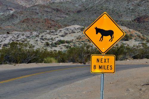 Donkey Crossing Warning Sign