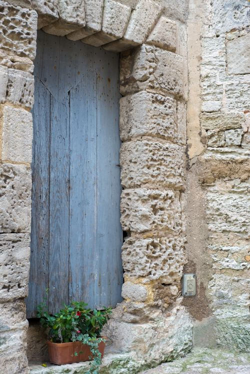 door blue old