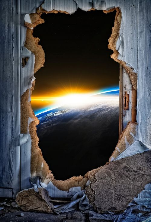 door breakthrough door sunburst