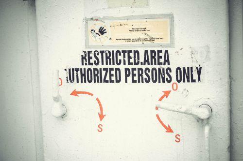 door caution sign
