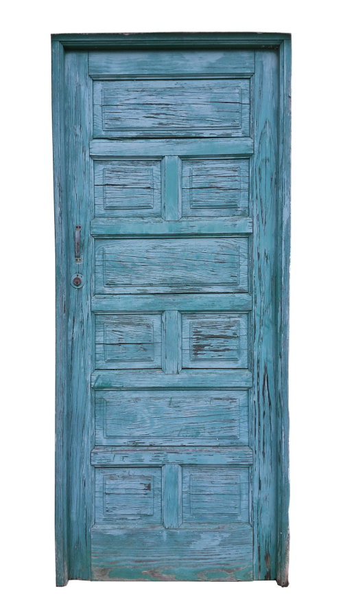 door old blue