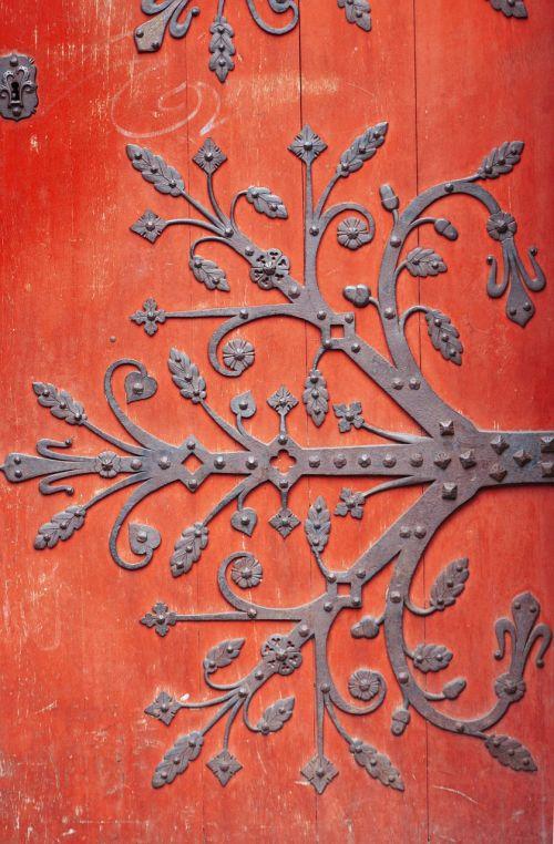 door red ironwork