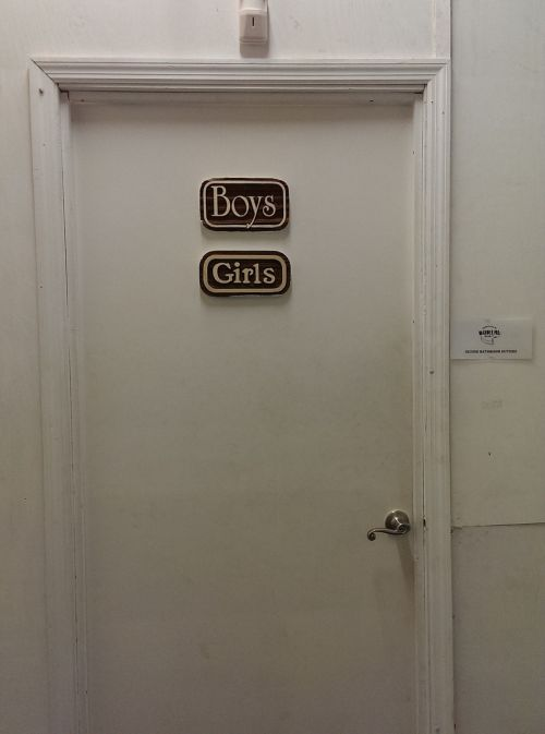 door unisex bathroom