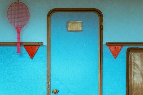 door blue entrance