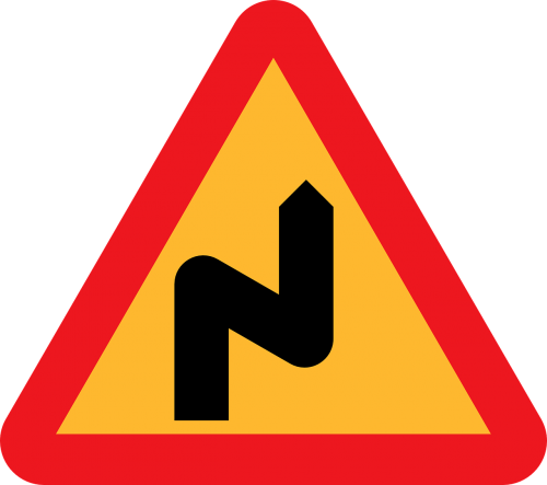 double bend to the right double bend roadsign