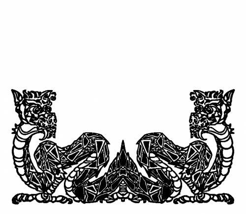 tuščia, dvigubas, simetriškas, juoda, drakonas, rėmas, balta, fonas, legenda, kinai, gyvūnas, žvėrys, dvigubas juodas drakonas