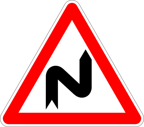 double curve first to right traffic sign sign