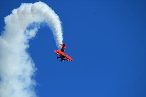 double decker aircraft fly