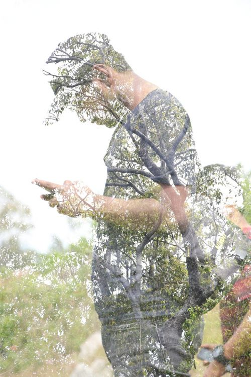 double exposure nature people