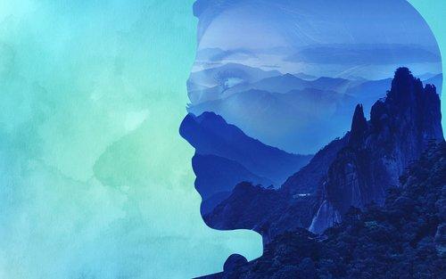 double exposure  mountain  portrait