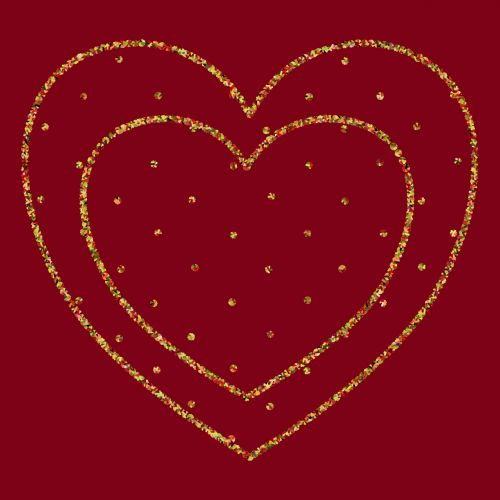 Double Heart On Red
