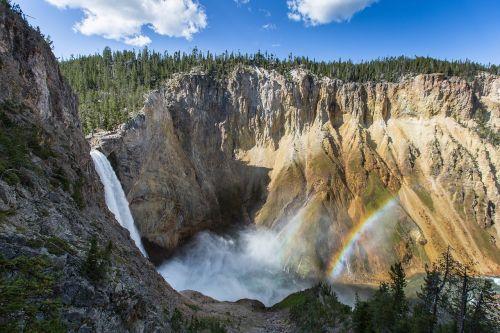 double rainbow waterfall yellowstone falls