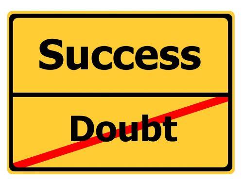 doubt success road sign