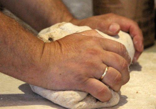 dough flour hand