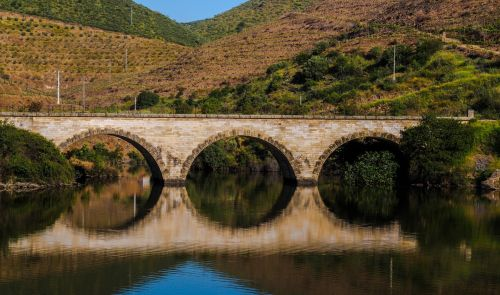 Douro River Bridge Reflection