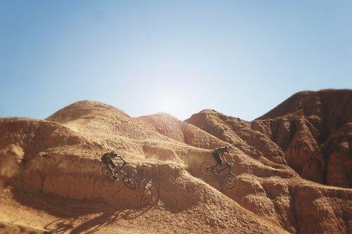 downhill biking bikers