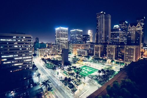 downtown city lights