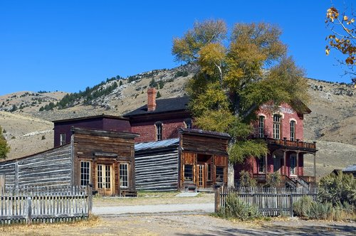 downtown bannack buildings  hotel meade  montana