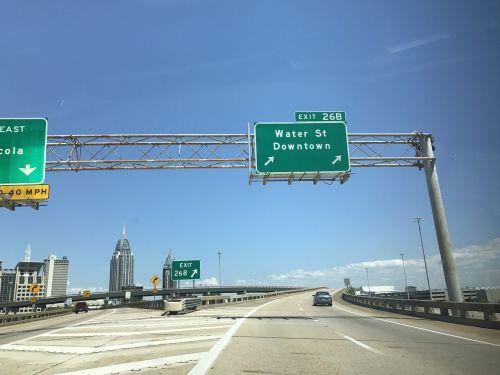 downtown mobile alabama interstate 10 street sign