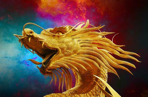 dragon broncefigur golden dragon