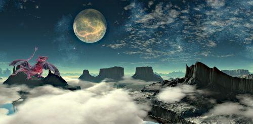 dragon moon clouds