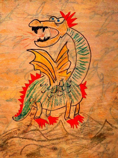 dragon drawing fire-breathing dragon