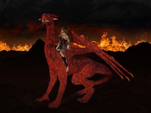 dragon reddish woman